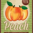 Vector vintage styled peach poster — Stock Vector