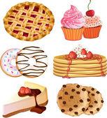 Set of vector delicious desserts — Stock Vector