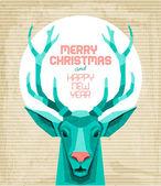 Vintage Deer Christmas Card — Stock Vector