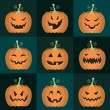 Set of vector Halloween pumpkins — Stock Vector