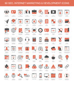 Set of 80 SEO, internet marketing and development icons — Stock Vector