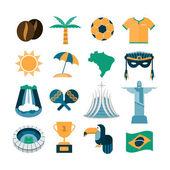 Vector Brazil icons — Stock Vector