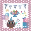 Birthday of an owl — Stock Vector