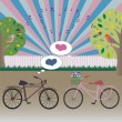 Bicycles in love — Imagen vectorial