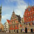 Stock Photo: House of Blackheads and Cathedral of St. Pete in Riga, L