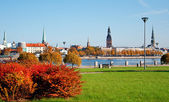 Autumn panorama of Riga — Stock Photo