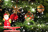 Christmas tree and Santa Claus — Stock Photo