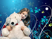 Caucasian little girl with a polar bear — Stockfoto