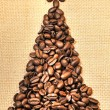Christmas tree made of coffee — Stock Photo