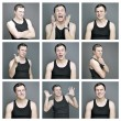 Collage of emotions of a young man — Stock Photo