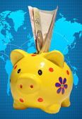 Piggy bank in the form of a pig on a map — Stock Photo