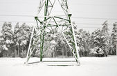 Electric poles in winter — Stockfoto