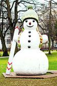 Snowman in the park — Stock Photo