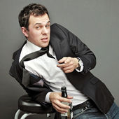 Drunk young man in office clothes — Foto Stock