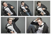 Collage of Drunk young man in office clothes — Foto de Stock