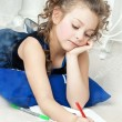 Beautiful girl writes a letter to Santa Claus — Stock Photo