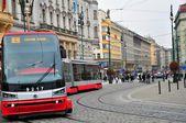 布拉格、 圣诞节、 城市、 复古、 冬季、 捷克共和国、 视图、 手表、 城市交通、 电车 — 图库照片