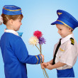 Stockfoto: Little boy in suit Pilot