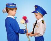 Little boy in a suit Pilot — Stock Photo