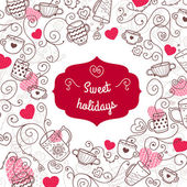 Valentine card sweet holidays — Vettoriale Stock