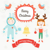 Card christmas with kids animals and snow — Stock Vector