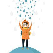 Schoolboy in the autumn rain — Stock vektor