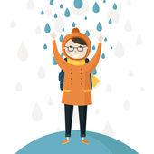 Schoolboy in the autumn rain — Stockvektor