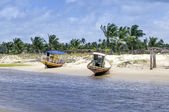 Pititinga (RN, Brazil) boats on the beach — Foto de Stock