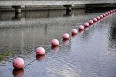 Boules colorées flottants sur le danube (ingolstadt, allemagne) — Photo
