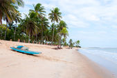 Beach at low tide with boat, Pititinga, Natal (Brazil) — Stock Photo