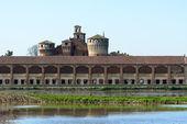 Castelo de valeggio com campos de arroz em primeiro plano, lomellina (que — Fotografia Stock