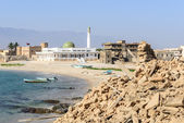 New mosque and castle in Mirbat (Oman) — Stock Photo