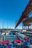 Dock of Santo Amaro on Tagus river, Lisbon (Portugal) — Stock Photo