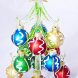 New Year fur tree decorated with balls — Stock Photo