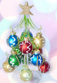 New Year fur tree decorated with balls — 图库照片