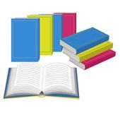 Boeken staan in een rij en open boek — Stockvector