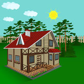 Maison en bois, illustration — Vecteur