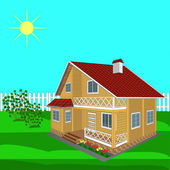 House wooden on a sunny day — Stock Vector