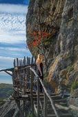 Ragazza su un ponte di legno — Foto Stock