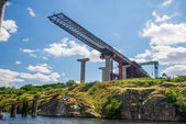 Construction of the bridge over the Dnipro — ストック写真
