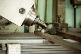 CNC drilling and milling in a workshop — Stok fotoğraf