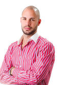 Man in a pink shirt — Stock Photo
