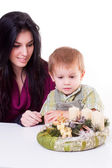 Woman and boy with advent wreath — Stock Photo
