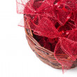 Wattled basket with bows — Stock Photo