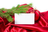 Christmas card, red christmas balls in the background. — Stock Photo