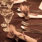 Tablo bir düğün yemeği için ayarla — Stok fotoğraf #36340075