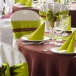 Table set for wedding or another catered event dinner — Stock Photo #45973129