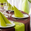 Table set for wedding or another catered event dinner — Stock Photo #45973241