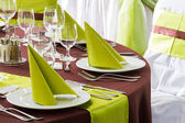 Table set for wedding or another catered event dinner — Stock Photo