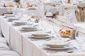 Wedding table with decorations — Stock Photo